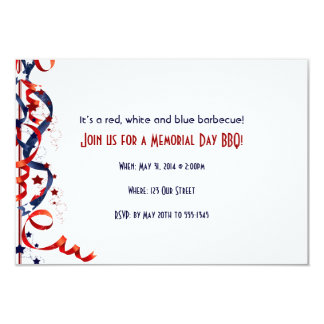 Red White and Blue Ribbons and Stars 9 Cm X 13 Cm Invitation Card