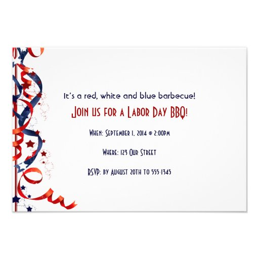 Red White and Blue Ribbons and Stars Labor Day Custom Invitations