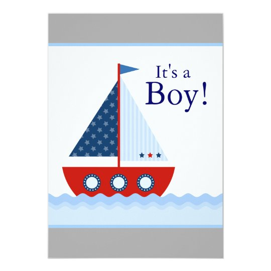 Red White and Blue Sailboat Baby Boy Shower