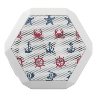 Red White And Blue Sea Symbol Pattern White Bluetooth Speaker