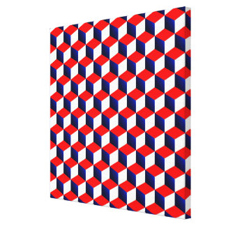 Red White and Blue Shaded 3D Look Cubes Canvas Print