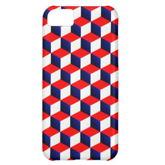 Red White and Blue Shaded 3D Look Cubes iPhone 5C Case