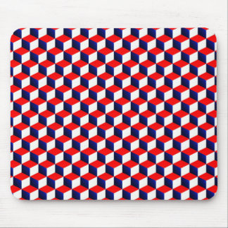 Red White and Blue Shaded 3D Look Cubes Mouse Pad