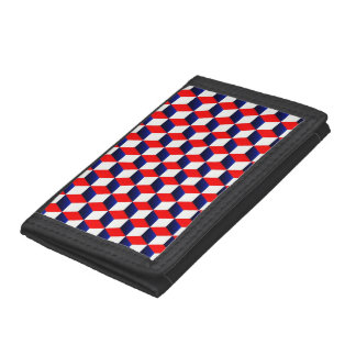 Red White and Blue Shaded 3D Look Cubes Trifold Wallets