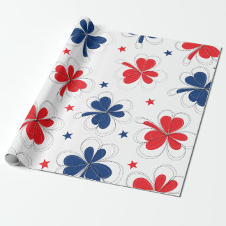 Red, White and Blue Shamrocks Print Pattern Wrapping Paper