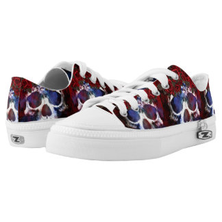 Red, White, and Blue Skull Printed Shoes