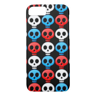 Red White and Blue Skulls on Black iPhone 7 Case