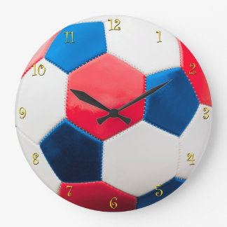 Red White and Blue Soccer Ball Large Clock