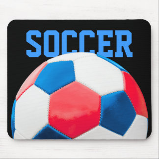 Red White and Blue Soccer Mousepad