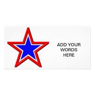Red, white and blue stacked stars photo card template