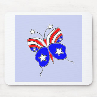 Red White and Blue Star Spangled Butterfly Mouse Pad