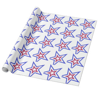 Red White and Blue Star Wrapping Paper