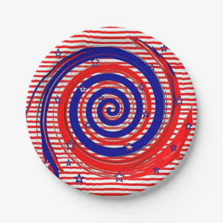 Red White and Blue Stars and Stripes 7 Inch Paper Plate
