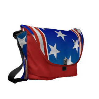 Red White and Blue Stars and Stripes Courier Bags