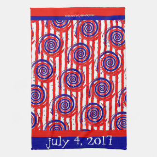 Red White and Blue Stars and Stripes Tea Towel