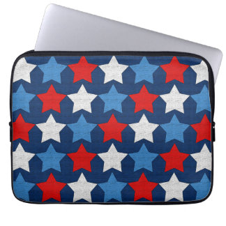 Red white and blue stars computer sleeve