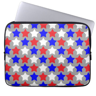 Red white and blue stars laptop computer sleeve