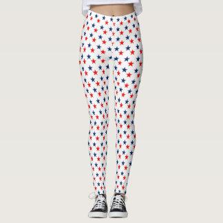 red, white and blue stars patriotic leggings