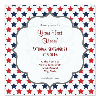 Red, White, and Blue Stars Pattern 13 Cm X 13 Cm Square Invitation Card