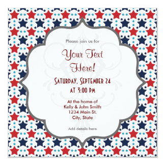 Red, White, and Blue Stars; Starry Pattern 13 Cm X 13 Cm Square Invitation Card