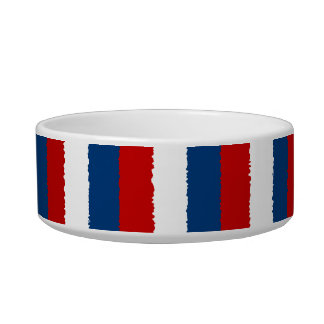 Red, White and Blue Stripe Cat Bowls