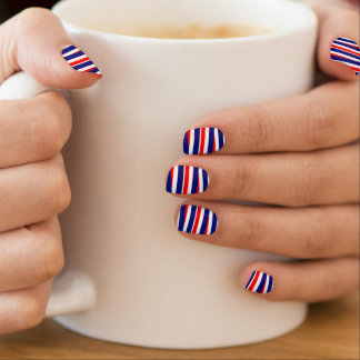 red white and blue stripe pattern minx nail art