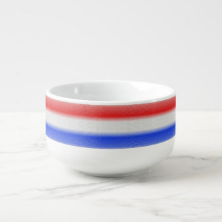 Red White and Blue Stripe Soup Bowl With Handle