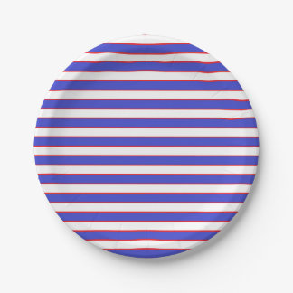 Red White and Blue Stripes 7 Inch Paper Plate