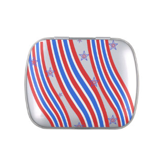 Red White and Blue Stripes and Star Candy Tins