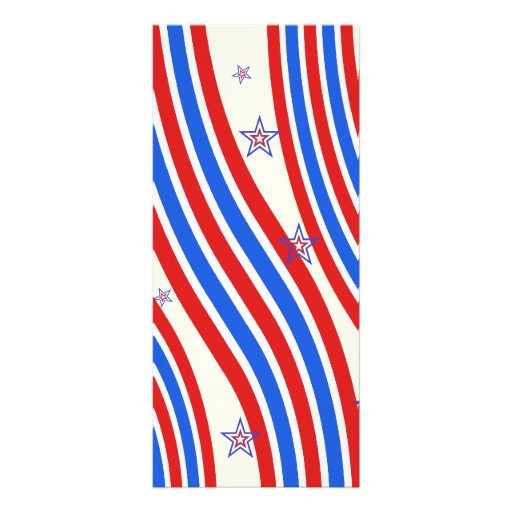 Red White and Blue Stripes and Star Personalized Rack Card