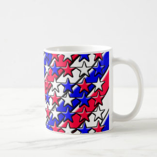 Red, White, and Blue Stripes and Stars Basic White Mug