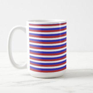 Red, White and Blue Stripes. Basic White Mug