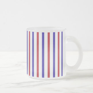 Red, White, and Blue Stripes Frosted Glass Mug