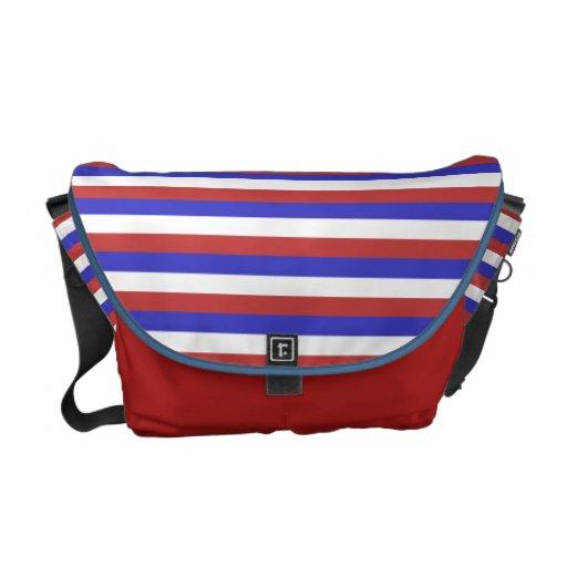 Red, White and Blue Stripes. Messenger Bag