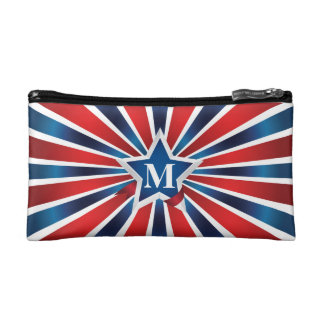 Red White and Blue Stripes Monogram Cosmetics Bags