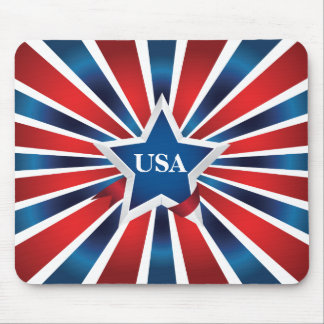 Red White and Blue Stripes Monogram Mouse Pad