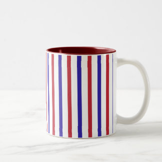 Red, White, and Blue Stripes Two-Tone Coffee Mug
