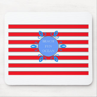 Red, White and Blue stripes nautical pattern Mouse Pad