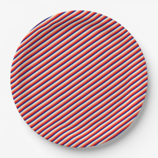 Red, White, and Blue Stripes, Patriotic, Festive 9 Inch Paper Plate