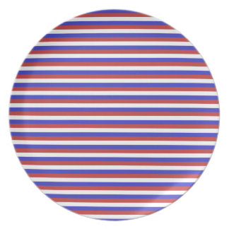 Red, White and Blue Stripes. Dinner Plates