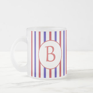 Red, White, and Blue Stripes with Monogram Frosted Glass Mug