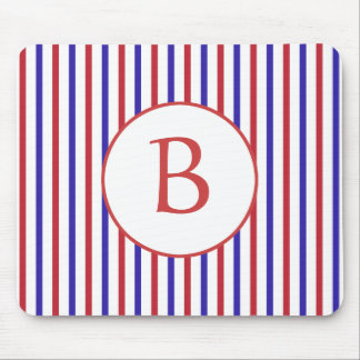 Red, White, and Blue Stripes with Monogram Mouse Pad