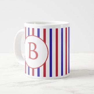 Red, White, and Blue Stripes with Monogram Jumbo Mug