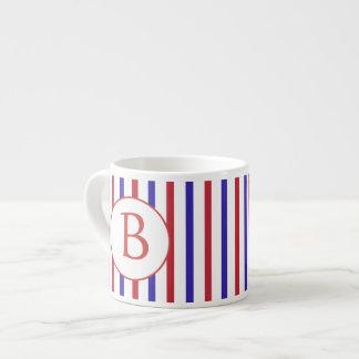 Red, White, and Blue Stripes with Monogram Espresso Mug