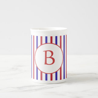Red, White, and Blue Stripes with Monogram Tea Cup