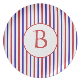 Red, White, and Blue Stripes with Monogram Dinner Plates