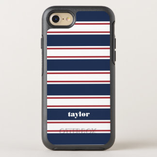 Red White and Blue Summer Stripe OtterBox Symmetry iPhone 7 Case