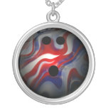 Red White and Blue Swirl Bowling Ball Custom Necklace