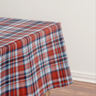 Red White and Blue Tartan Tablecloth