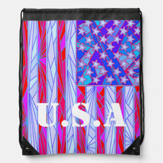 Red White And Blue USA Flag Patriotic Pack Cinch Bag